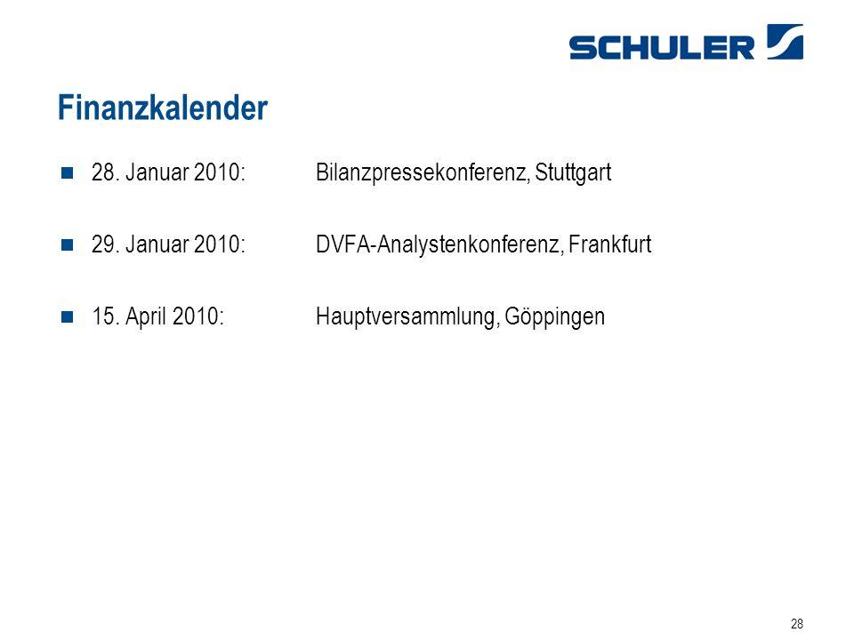 28 Finanzkalender 28. Januar 2010: Bilanzpressekonferenz, Stuttgart 29. Januar 2010: DVFA-Analystenkonferenz, Frankfurt 15. April 2010: Hauptversammlu