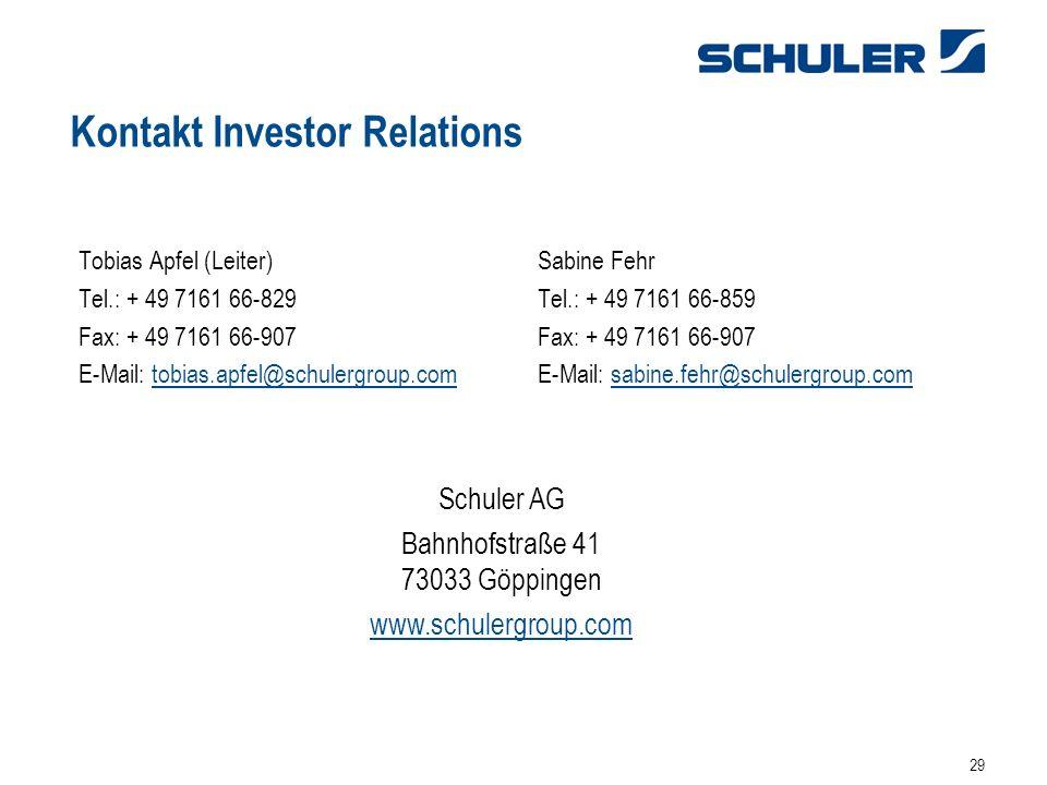29 Kontakt Investor Relations Tobias Apfel (Leiter)Sabine Fehr Tel.: + 49 7161 66-829Tel.: + 49 7161 66-859Fax: + 49 7161 66-907 E-Mail: tobias.apfel@