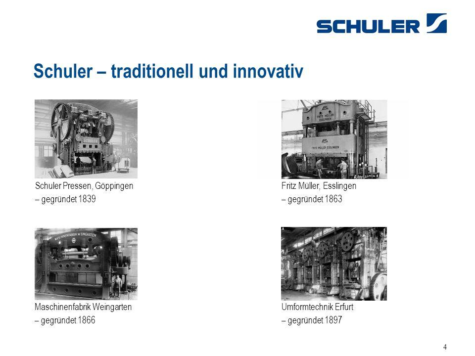 4 Schuler – traditionell und innovativ Schuler Pressen, Göppingen – gegründet 1839 Maschinenfabrik Weingarten – gegründet 1866 Umformtechnik Erfurt – gegründet 1897 Fritz Müller, Esslingen – gegründet 1863