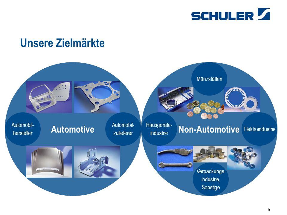 5 Unsere Zielmärkte AutomotiveNon-Automotive Hausgeräte- industrie Verpackungs- industrie, Sonstige Automobil- hersteller Automobil- zulieferer Münzstätten Elektroindustrie