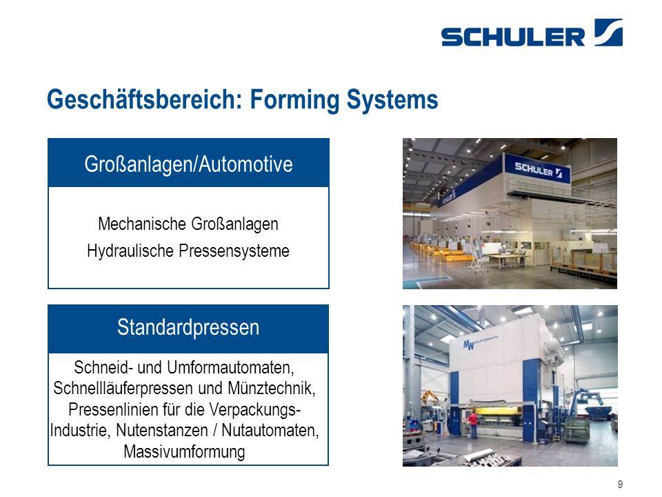 9 Geschäftsbereich: Forming Systems Mechanische Großanlagen Hydraulische Pressensysteme Großanlagen/Automotive Schneid- und Umformautomaten, Schnellläuferpressen und Münztechnik, Pressenlinien für die Verpackungs- Industrie, Nutenstanzen / Nutautomaten, Massivumformung Standardpressen