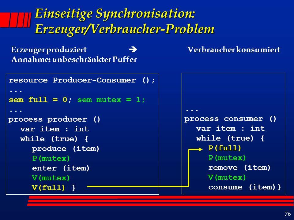 76 Einseitige Synchronisation: Erzeuger/Verbraucher-Problem Erzeuger produziert Verbraucher konsumiert Annahme: unbeschränkter Puffer resource Producer-Consumer ();...
