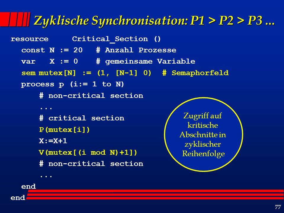77 Zyklische Synchronisation: P1 > P2 > P3...