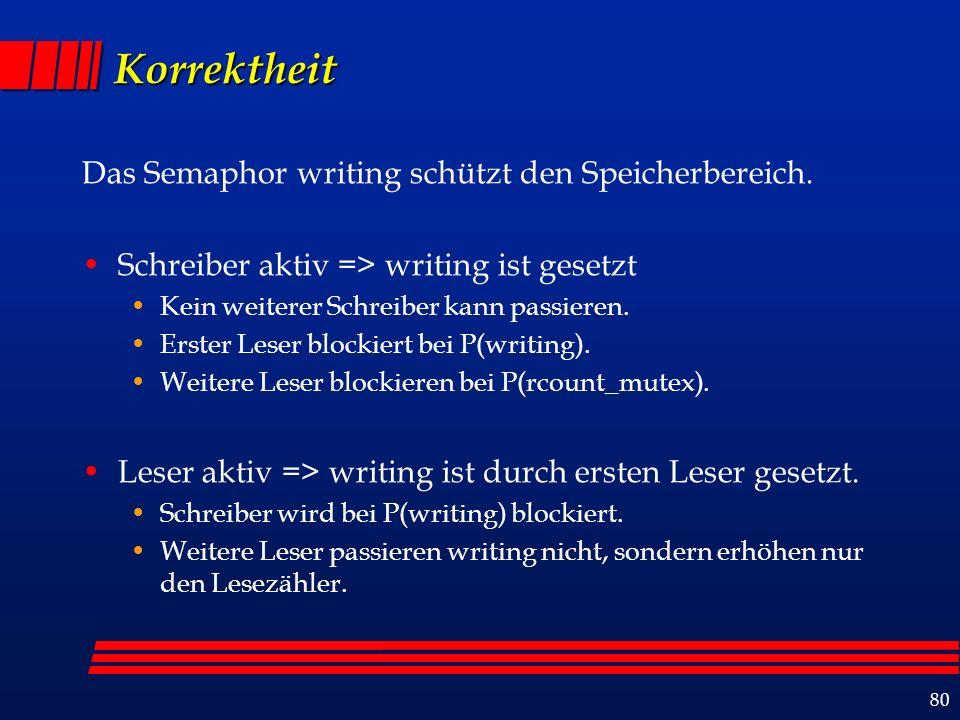 80 Korrektheit Das Semaphor writing schützt den Speicherbereich.