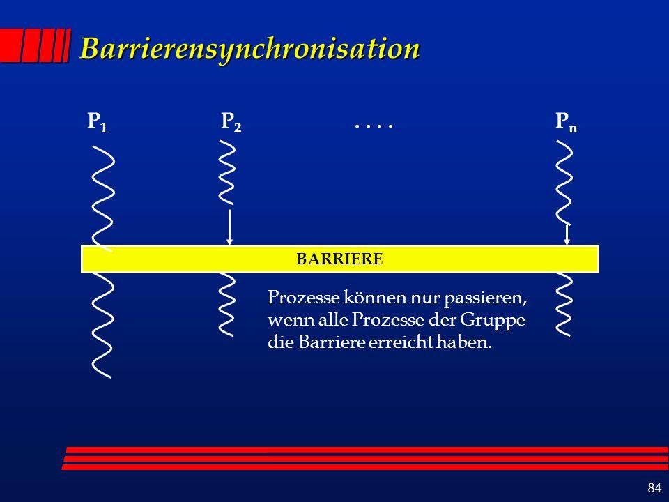 84 Barrierensynchronisation BARRIERE P 1 P 2....P n Prozesse können nur passieren, wenn alle Prozesse der Gruppe die Barriere erreicht haben.