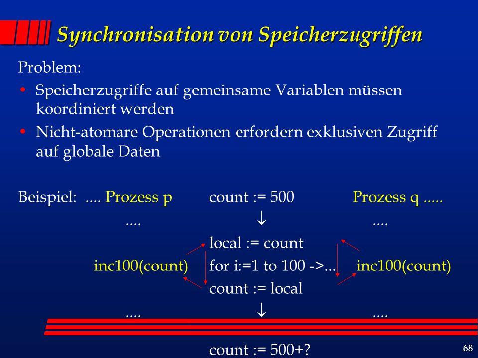 68 Synchronisation von Speicherzugriffen Problem: Speicherzugriffe auf gemeinsame Variablen müssen koordiniert werden Nicht-atomare Operationen erfordern exklusiven Zugriff auf globale Daten Beispiel:....