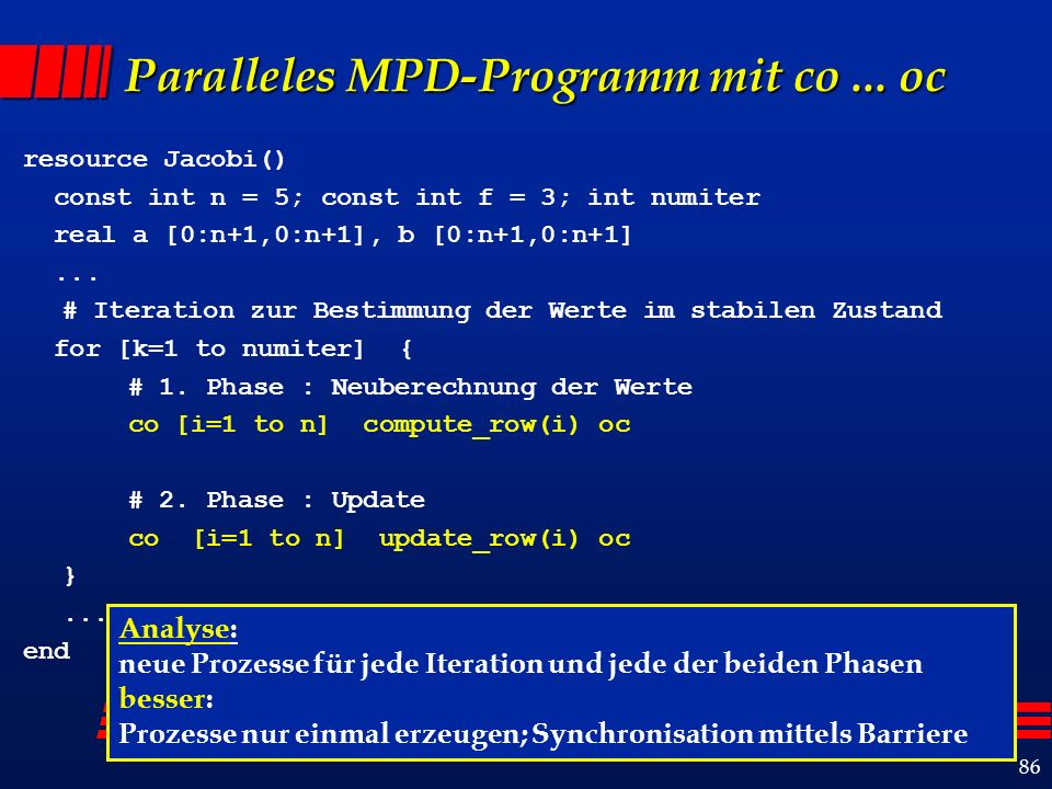 86 Paralleles MPD-Programm mit co... oc resource Jacobi() const int n = 5; const int f = 3; int numiter real a [0:n+1,0:n+1], b [0:n+1,0:n+1]... # Ite