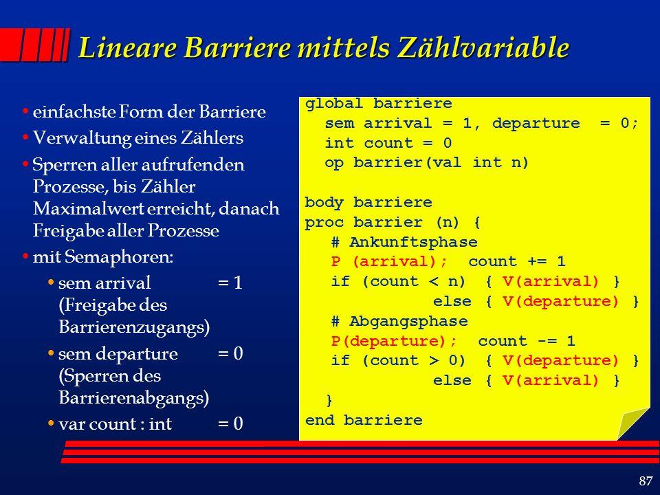 87 Lineare Barriere mittels Zählvariable einfachste Form der Barriere Verwaltung eines Zählers Sperren aller aufrufenden Prozesse, bis Zähler Maximalwert erreicht, danach Freigabe aller Prozesse mit Semaphoren: sem arrival = 1 (Freigabe des Barrierenzugangs) sem departure = 0 (Sperren des Barrierenabgangs) var count : int = 0 global barriere sem arrival = 1, departure = 0; int count = 0 op barrier(val int n) body barriere proc barrier (n) { # Ankunftsphase P (arrival); count += 1 if (count < n) { V(arrival) } else { V(departure) } # Abgangsphase P(departure); count -= 1 if (count > 0) { V(departure) } else { V(arrival) } } end barriere