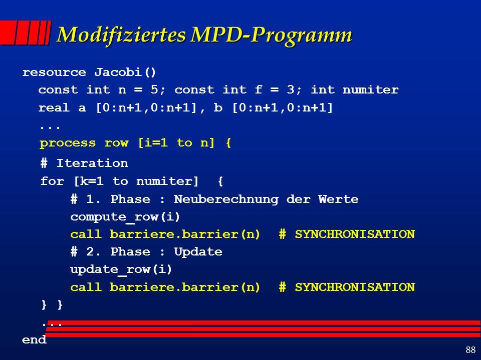 88 Modifiziertes MPD-Programm resource Jacobi() const int n = 5; const int f = 3; int numiter real a [0:n+1,0:n+1], b [0:n+1,0:n+1]...