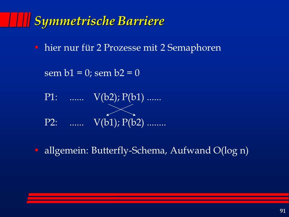 91 Symmetrische Barriere hier nur für 2 Prozesse mit 2 Semaphoren sem b1 = 0; sem b2 = 0 P1:......