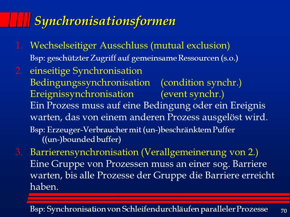 70 Synchronisationsformen 1.Wechselseitiger Ausschluss (mutual exclusion) Bsp: geschützter Zugriff auf gemeinsame Ressourcen (s.o.) 2.einseitige Synchronisation Bedingungssynchronisation (condition synchr.) Ereignissynchronisation (event synchr.) Ein Prozess muss auf eine Bedingung oder ein Ereignis warten, das von einem anderen Prozess ausgelöst wird.