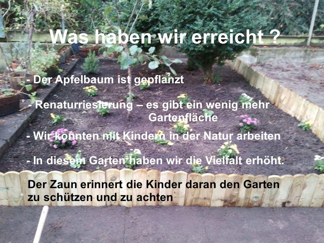 - Der Apfelbaum ist gepflanzt - - Renaturriesierung – es gibt ein wenig mehr - Gartenfläche - Wir konnten mit Kindern in der Natur arbeiten - In diesem Garten haben wir die Vielfalt erhöht.