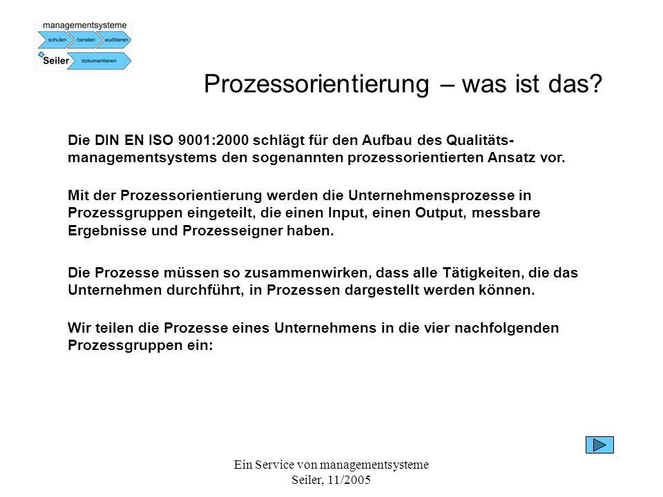Ein Service von managementsysteme Seiler, 11/2005 Prozessorientierung – was ist das? Die DIN EN ISO 9001:2000 schlägt für den Aufbau des Qualitäts- ma