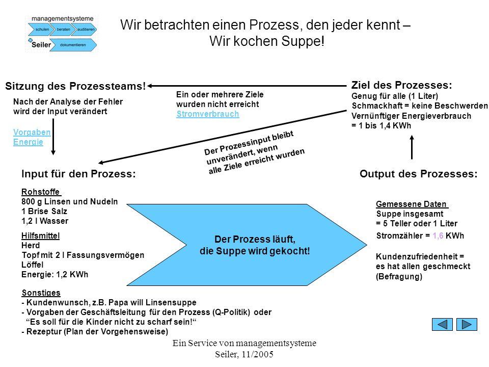 Ein Service von managementsysteme Seiler, 11/2005 Wir betrachten einen Prozess, den jeder kennt – Wir kochen Suppe! Input für den Prozess: Rohstoffe 8
