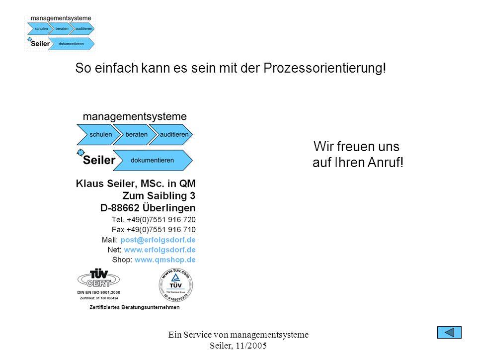 Ein Service von managementsysteme Seiler, 11/2005 So einfach kann es sein mit der Prozessorientierung! Wir freuen uns auf Ihren Anruf!