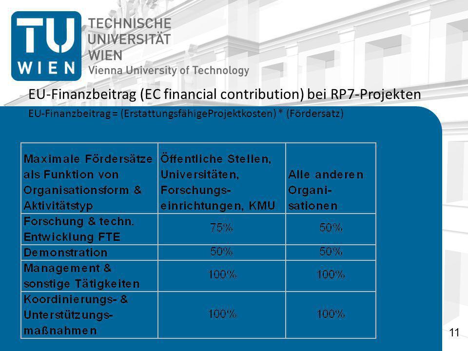EU-Finanzbeitrag (EC financial contribution) bei RP7-Projekten EU-Finanzbeitrag = (ErstattungsfähigeProjektkosten) * (Fördersatz) 11