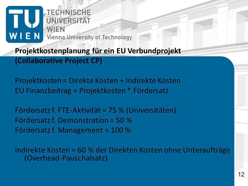 Projektkostenplanung für ein EU Verbundprojekt (Collaborative Project CP) Projektkosten = Direkte Kosten + Indirekte Kosten EU Finanzbeitrag = Projektkosten * Fördersatz Fördersatz f.