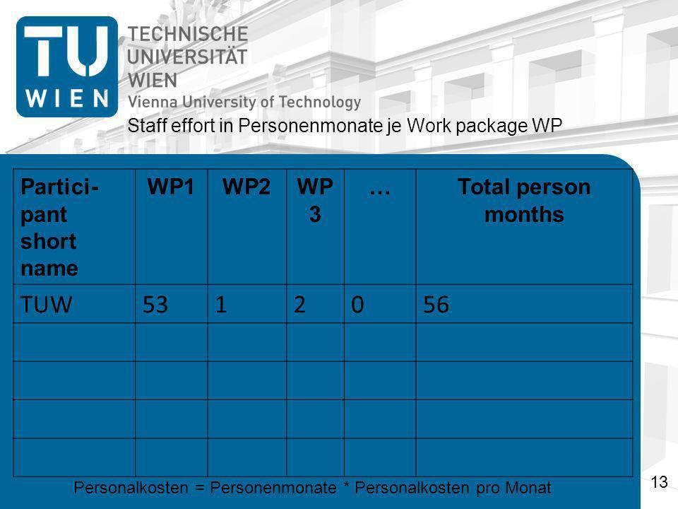 Partici- pant short name WP1WP2WP 3 …Total person months TUW5312056 Staff effort in Personenmonate je Work package WP Personalkosten = Personenmonate * Personalkosten pro Monat 13