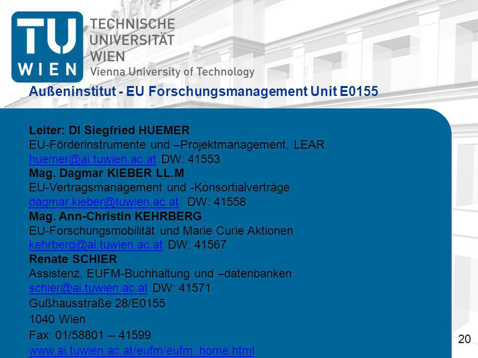 Außeninstitut - EU Forschungsmanagement Unit E0155 Leiter: DI Siegfried HUEMER EU-Förderinstrumente und –Projektmanagement, LEAR huemer@ai.tuwien.ac.athuemer@ai.tuwien.ac.at DW: 41553 Mag.