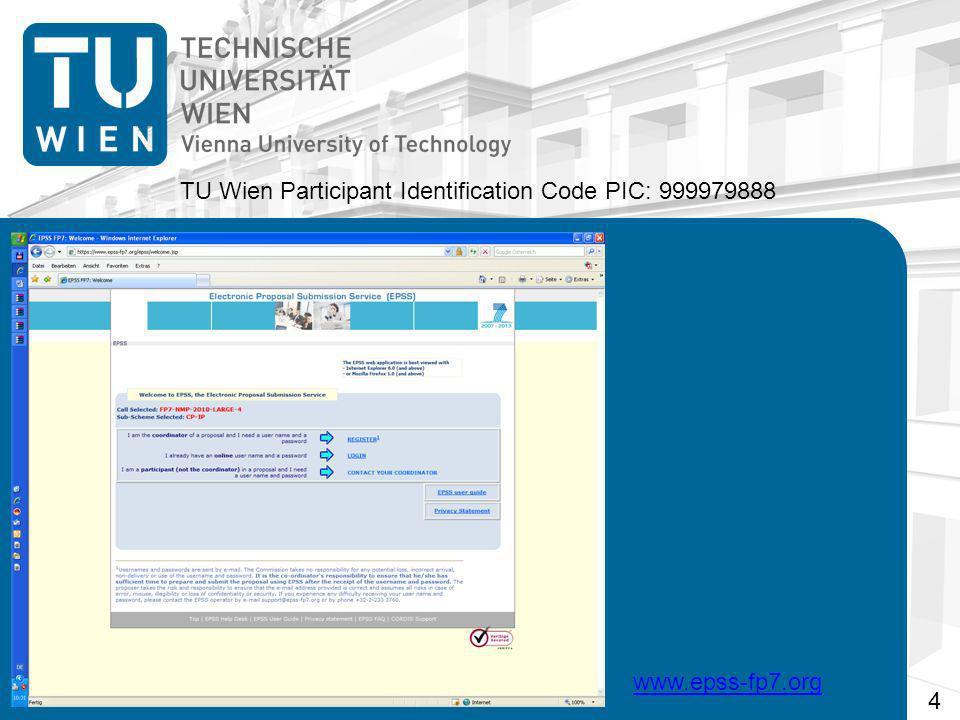 TU Wien Participant Identification Code PIC: 999979888 www.epss-fp7.org 4