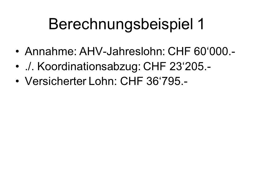 Berechnungsbeispiel 2 Annahme: AHV-Jahreslohn: CHF 90000.- Begrenzung auf CHF 79560.-./.