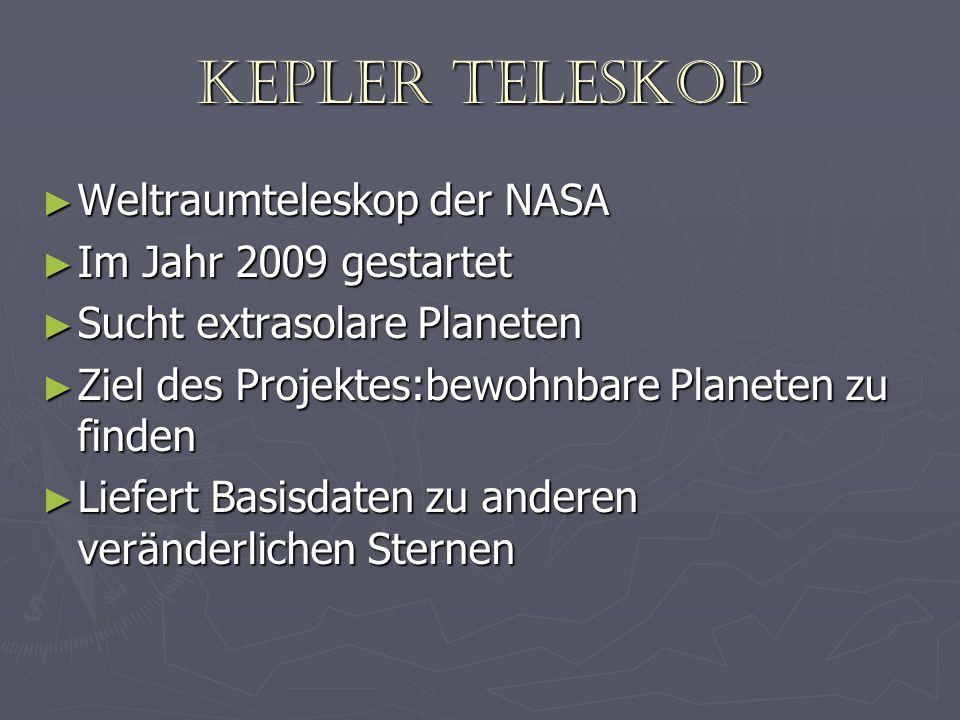 Kepler Teleskop Weltraumteleskop der NASA Weltraumteleskop der NASA Im Jahr 2009 gestartet Im Jahr 2009 gestartet Sucht extrasolare Planeten Sucht ext