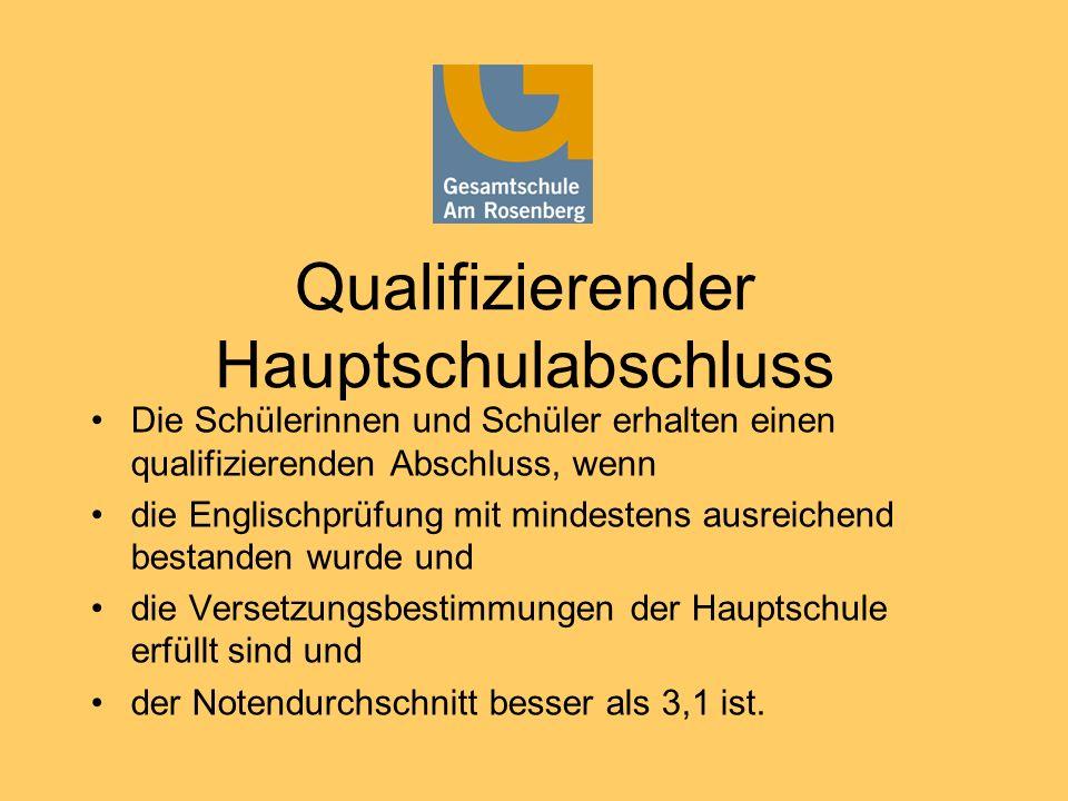 Qualifizierender Hauptschulabschluss Die Schülerinnen und Schüler erhalten einen qualifizierenden Abschluss, wenn die Englischprüfung mit mindestens a