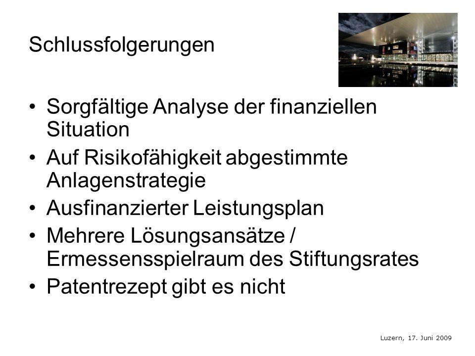 Luzern, 17. Juni 2009 Schlussfolgerungen Sorgfältige Analyse der finanziellen Situation Auf Risikofähigkeit abgestimmte Anlagenstrategie Ausfinanziert