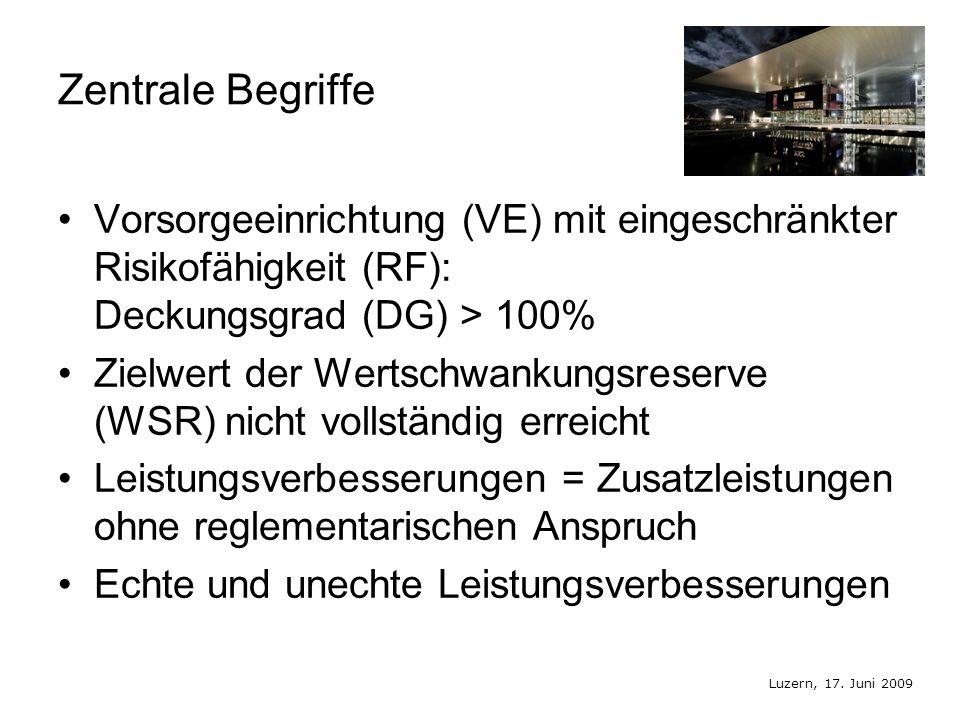 Luzern, 17. Juni 2009 Zentrale Begriffe Vorsorgeeinrichtung (VE) mit eingeschränkter Risikofähigkeit (RF): Deckungsgrad (DG) > 100% Zielwert der Werts