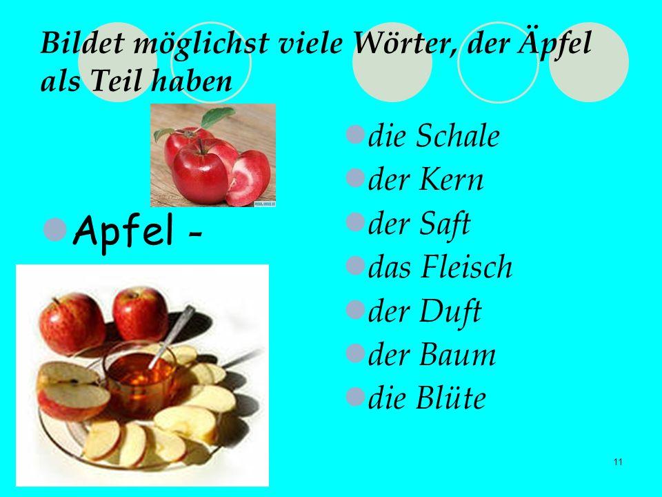 11 Bildet möglichst viele Wörter, der Äpfel als Teil haben Apfel - die Schale der Kern der Saft das Fleisch der Duft der Baum die Blüte