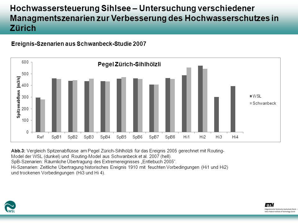 Hochwassersteuerung Sihlsee – Untersuchung verschiedener Managmentszenarien zur Verbesserung des Hochwasserschutzes in Zürich Abb.3: Vergleich Spitzenabflüsse am Pegel Zürich-Sihlhölzli für das Ereignis 2005 gerechnet mit Routing- Model der WSL (dunkel) und Routing-Model aus Schwanbeck et al.