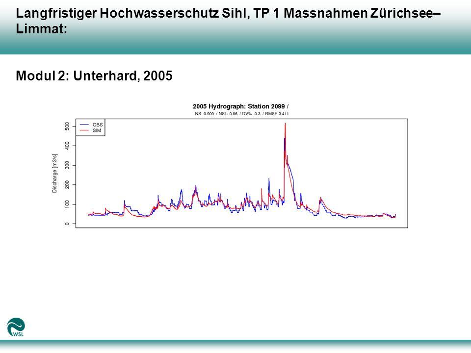 Langfristiger Hochwasserschutz Sihl, TP 1 Massnahmen Zürichsee– Limmat: Modul 2: Unterhard, 2005