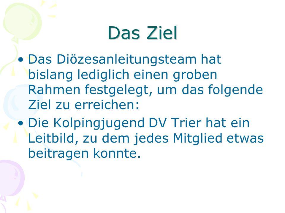 Das Ziel Das Diözesanleitungsteam hat bislang lediglich einen groben Rahmen festgelegt, um das folgende Ziel zu erreichen: Die Kolpingjugend DV Trier