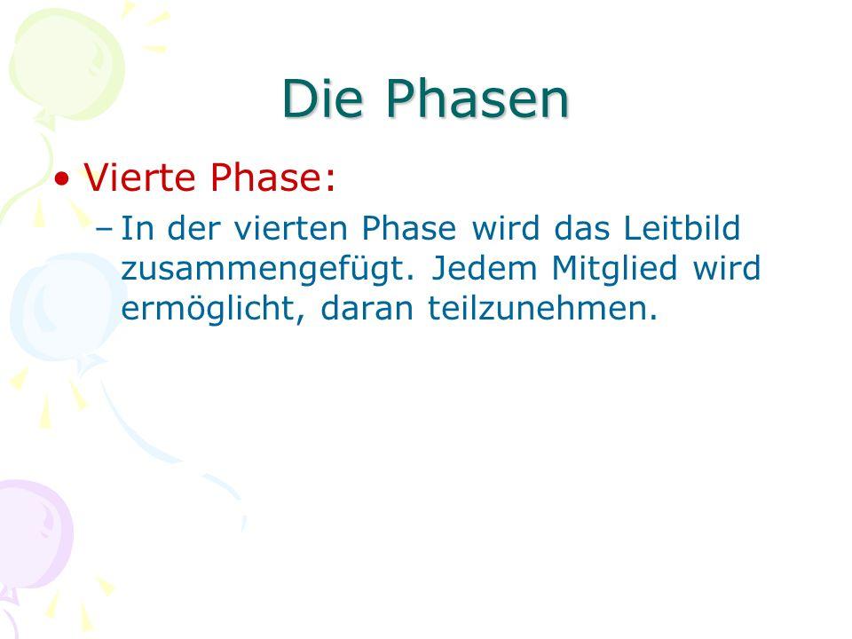 Die Phasen Vierte Phase: –In der vierten Phase wird das Leitbild zusammengefügt. Jedem Mitglied wird ermöglicht, daran teilzunehmen.