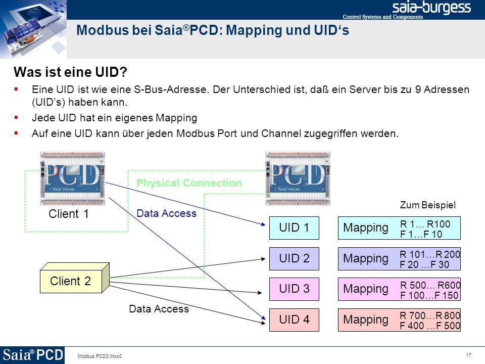 17 Modbus PCD3.Mxx0 Modbus bei Saia ® PCD: Mapping und UIDs Was ist eine UID.