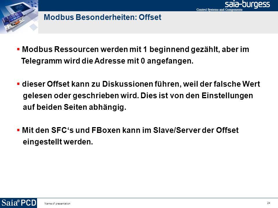 24 Name of presentation Modbus Besonderheiten: Offset Modbus Ressourcen werden mit 1 beginnend gezählt, aber im Telegramm wird die Adresse mit 0 angefangen.