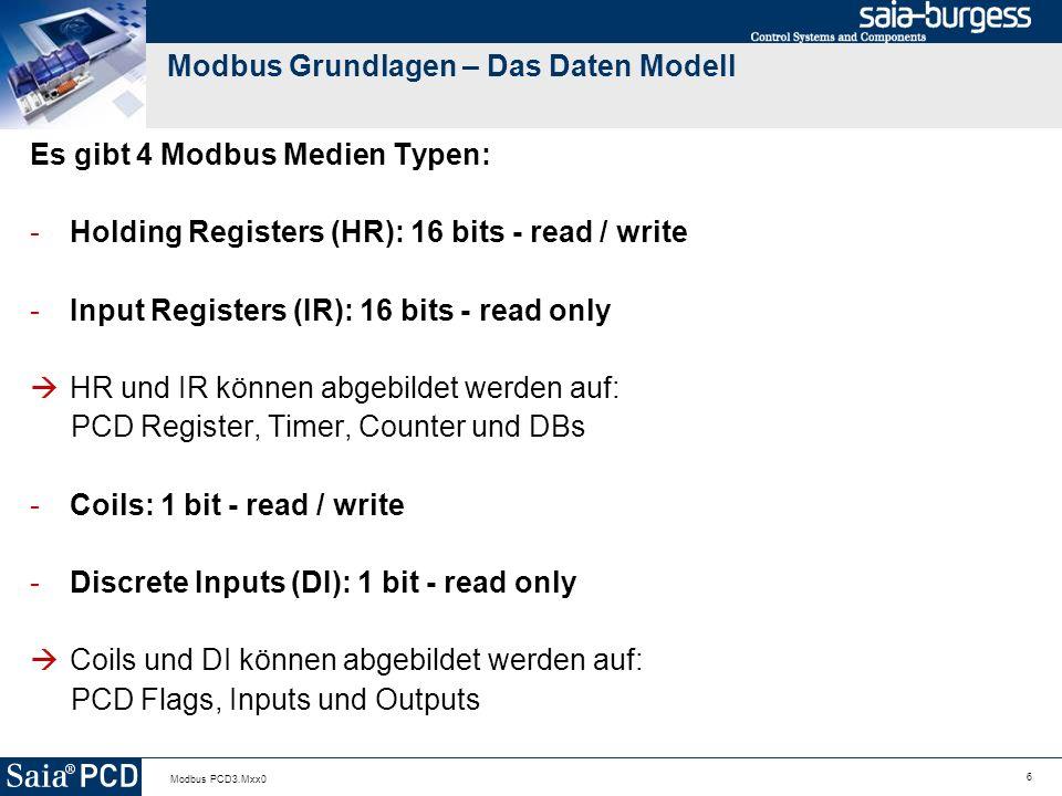 6 Modbus PCD3.Mxx0 Modbus Grundlagen – Das Daten Modell Es gibt 4 Modbus Medien Typen: -Holding Registers (HR): 16 bits - read / write -Input Registers (IR): 16 bits - read only HR und IR können abgebildet werden auf: PCD Register, Timer, Counter und DBs -Coils: 1 bit - read / write -Discrete Inputs (DI): 1 bit - read only Coils und DI können abgebildet werden auf: PCD Flags, Inputs und Outputs