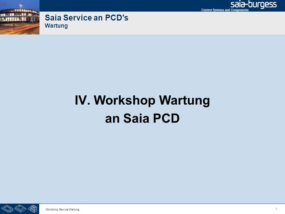 12 Workshop Service Wartung Saia Service an PCD s Wartung Wir gehen zum Stellen der Uhr mit dem Saia Online Configurator auf die PCD Online.