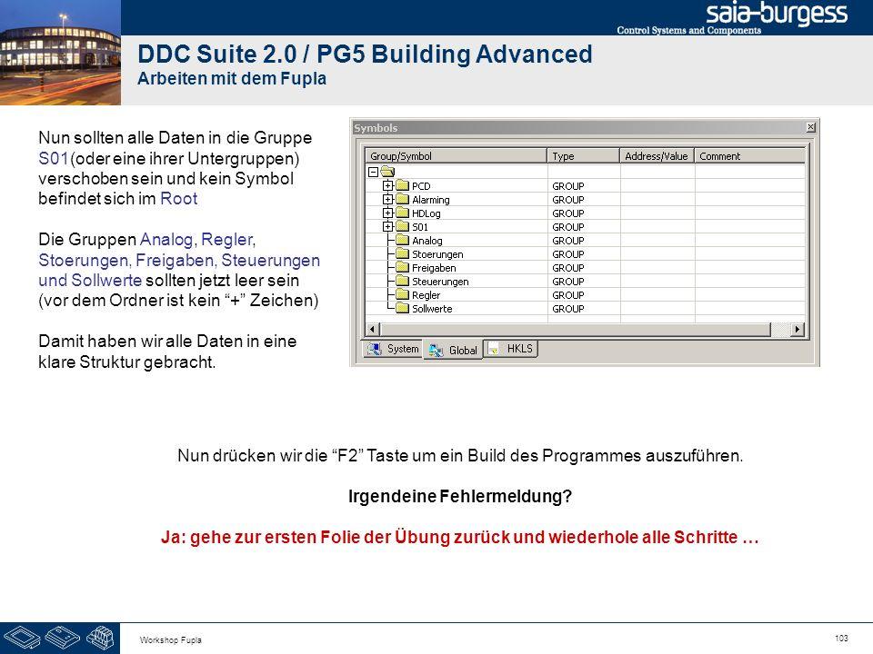 103 Workshop Fupla DDC Suite 2.0 / PG5 Building Advanced Arbeiten mit dem Fupla Nun sollten alle Daten in die Gruppe S01(oder eine ihrer Untergruppen)