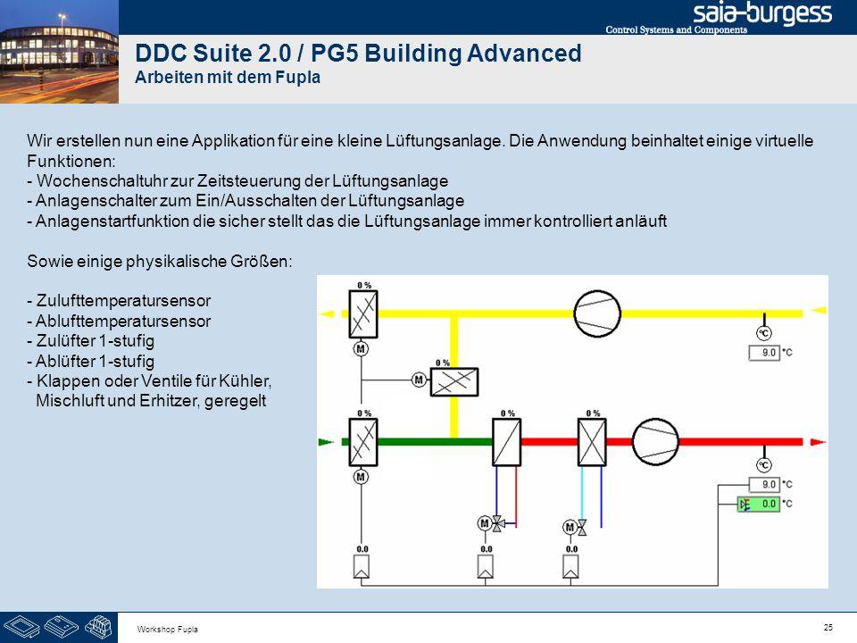 25 Workshop Fupla DDC Suite 2.0 / PG5 Building Advanced Arbeiten mit dem Fupla Wir erstellen nun eine Applikation für eine kleine Lüftungsanlage. Die