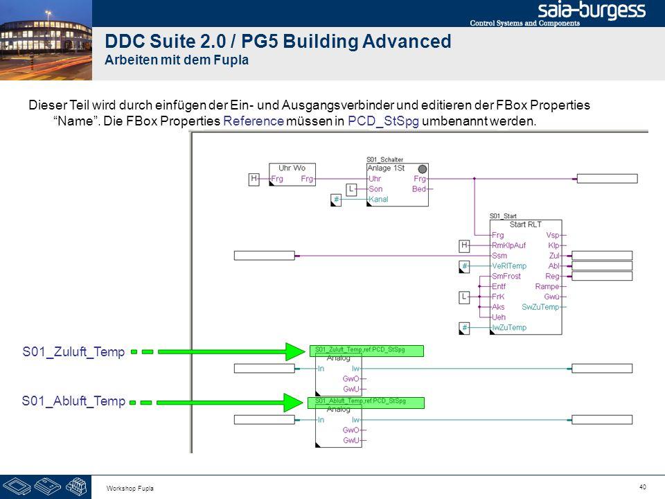 40 Workshop Fupla DDC Suite 2.0 / PG5 Building Advanced Arbeiten mit dem Fupla S01_Zuluft_Temp Dieser Teil wird durch einfügen der Ein- und Ausgangsve