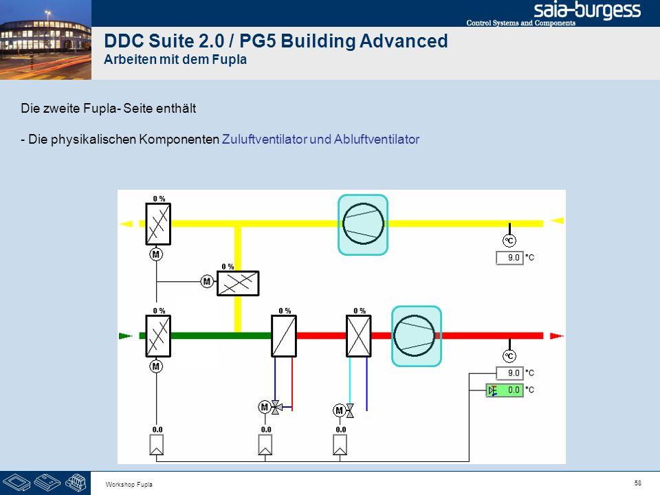 58 Workshop Fupla DDC Suite 2.0 / PG5 Building Advanced Arbeiten mit dem Fupla Die zweite Fupla- Seite enthält - Die physikalischen Komponenten Zuluft
