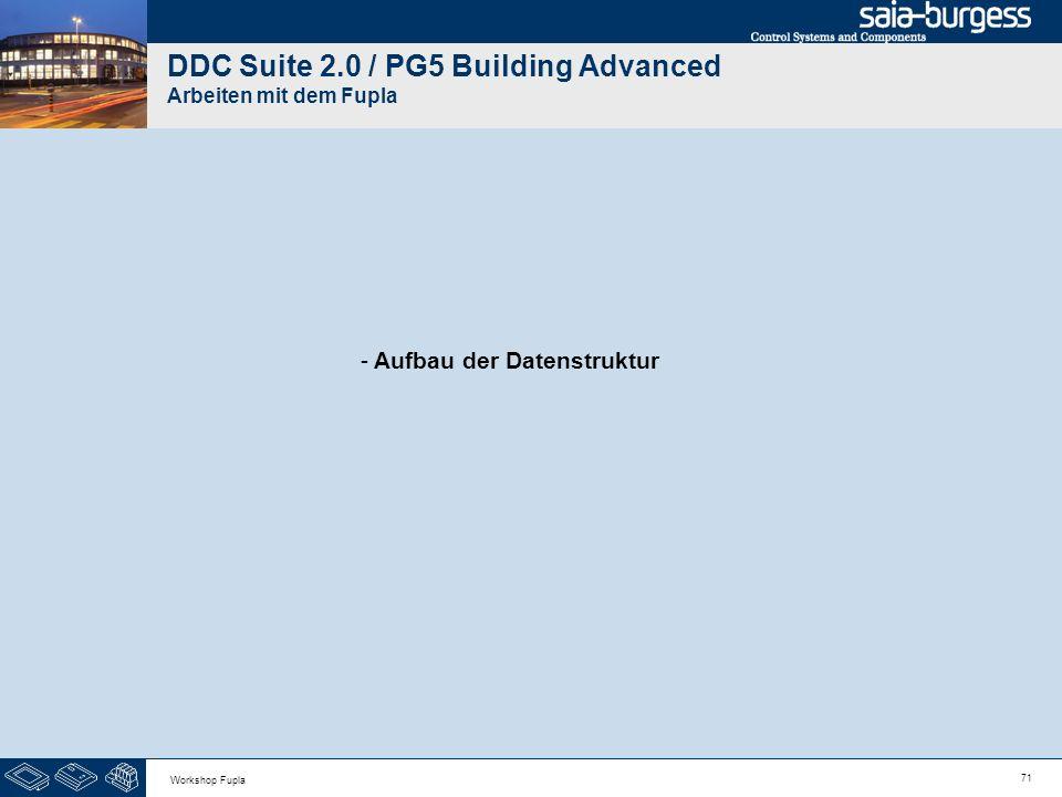 71 Workshop Fupla DDC Suite 2.0 / PG5 Building Advanced Arbeiten mit dem Fupla - Aufbau der Datenstruktur
