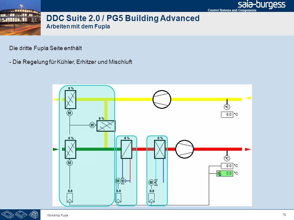 78 Workshop Fupla DDC Suite 2.0 / PG5 Building Advanced Arbeiten mit dem Fupla Die dritte Fupla Seite enthält - Die Regelung für Kühler, Erhitzer und