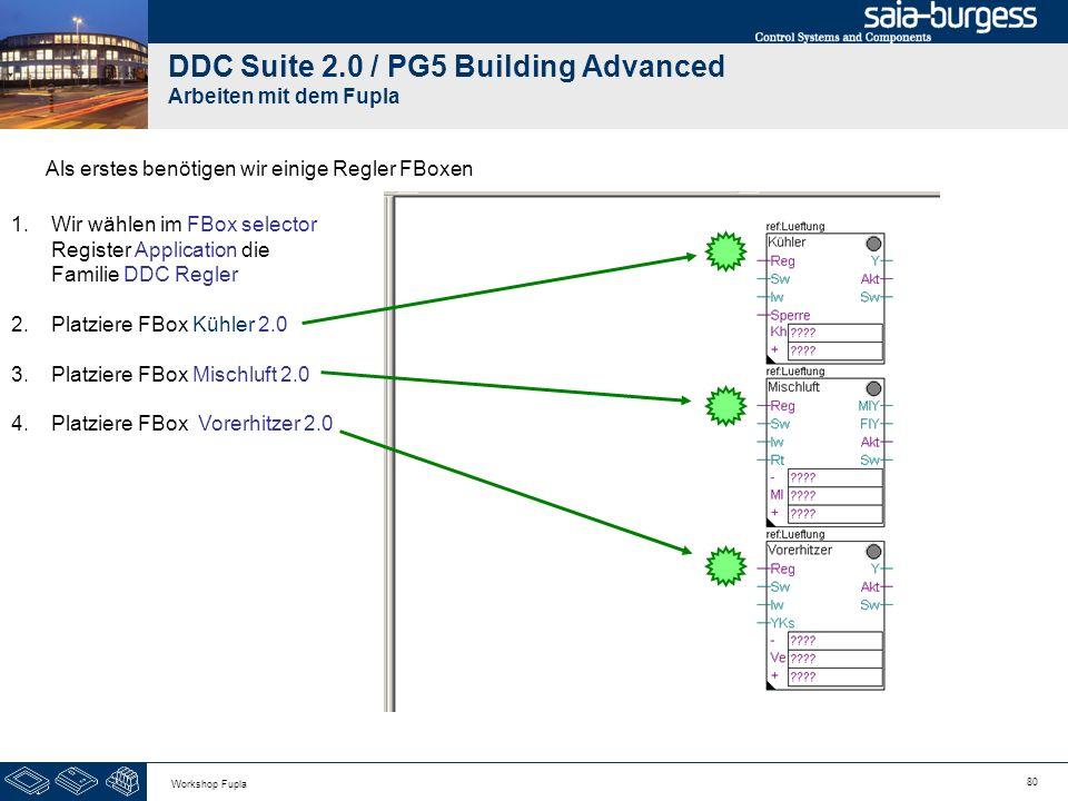 80 Workshop Fupla DDC Suite 2.0 / PG5 Building Advanced Arbeiten mit dem Fupla Als erstes benötigen wir einige Regler FBoxen 1.Wir wählen im FBox sele