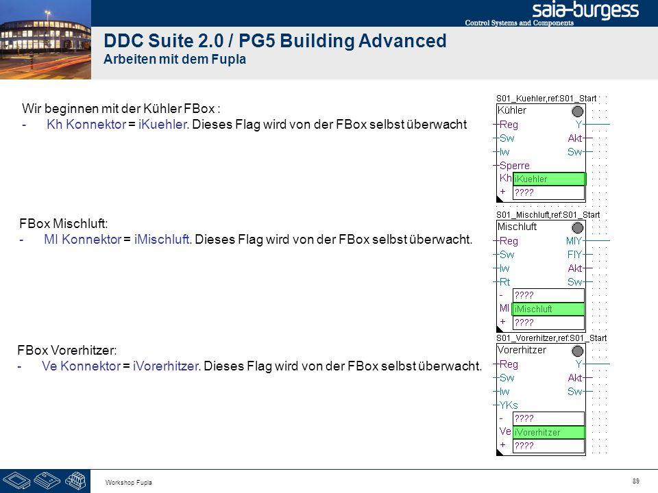 89 Workshop Fupla DDC Suite 2.0 / PG5 Building Advanced Arbeiten mit dem Fupla Wir beginnen mit der Kühler FBox : -Kh Konnektor = iKuehler. Dieses Fla