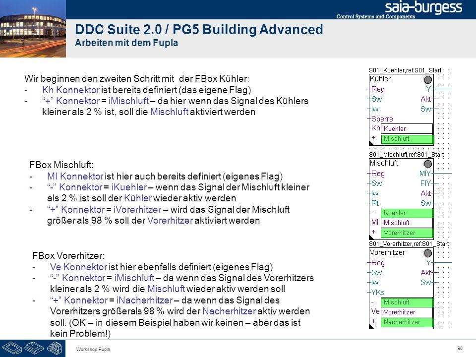 90 Workshop Fupla DDC Suite 2.0 / PG5 Building Advanced Arbeiten mit dem Fupla Wir beginnen den zweiten Schritt mit der FBox Kühler: -Kh Konnektor ist