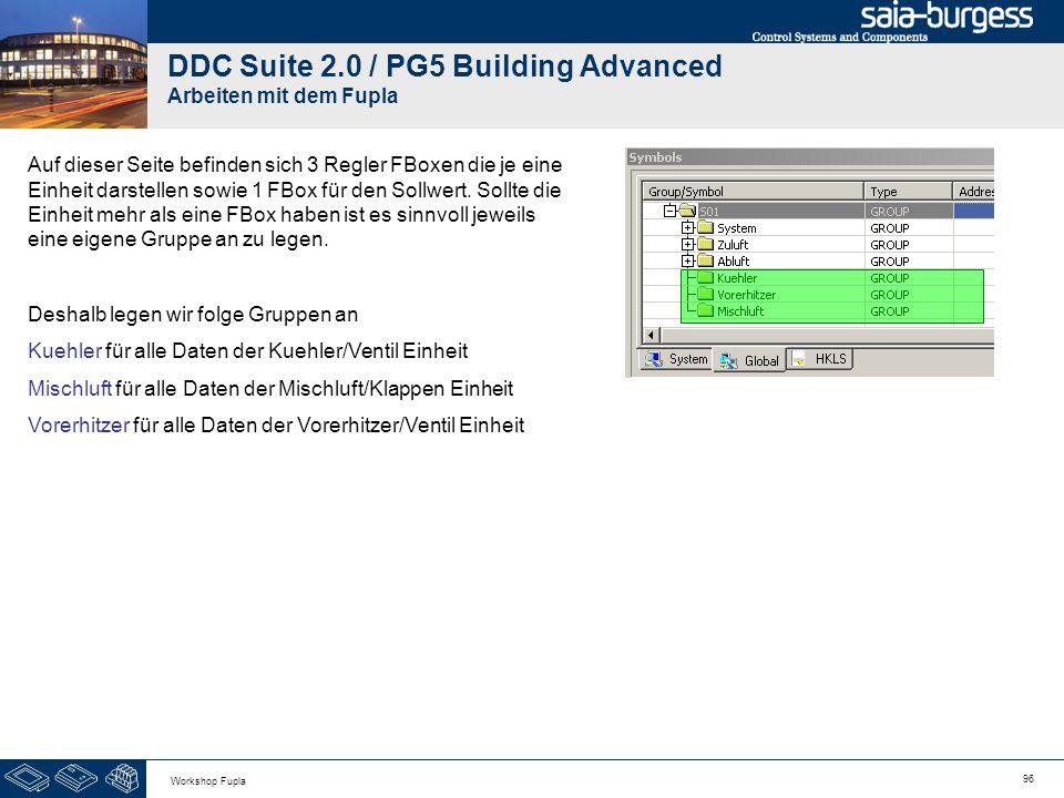 96 Workshop Fupla DDC Suite 2.0 / PG5 Building Advanced Arbeiten mit dem Fupla Auf dieser Seite befinden sich 3 Regler FBoxen die je eine Einheit dars
