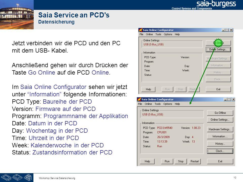 10 Workshop Service Datensicherung Saia Service an PCD's Datensicherung Jetzt verbinden wir die PCD und den PC mit dem USB- Kabel. Anschließend gehen