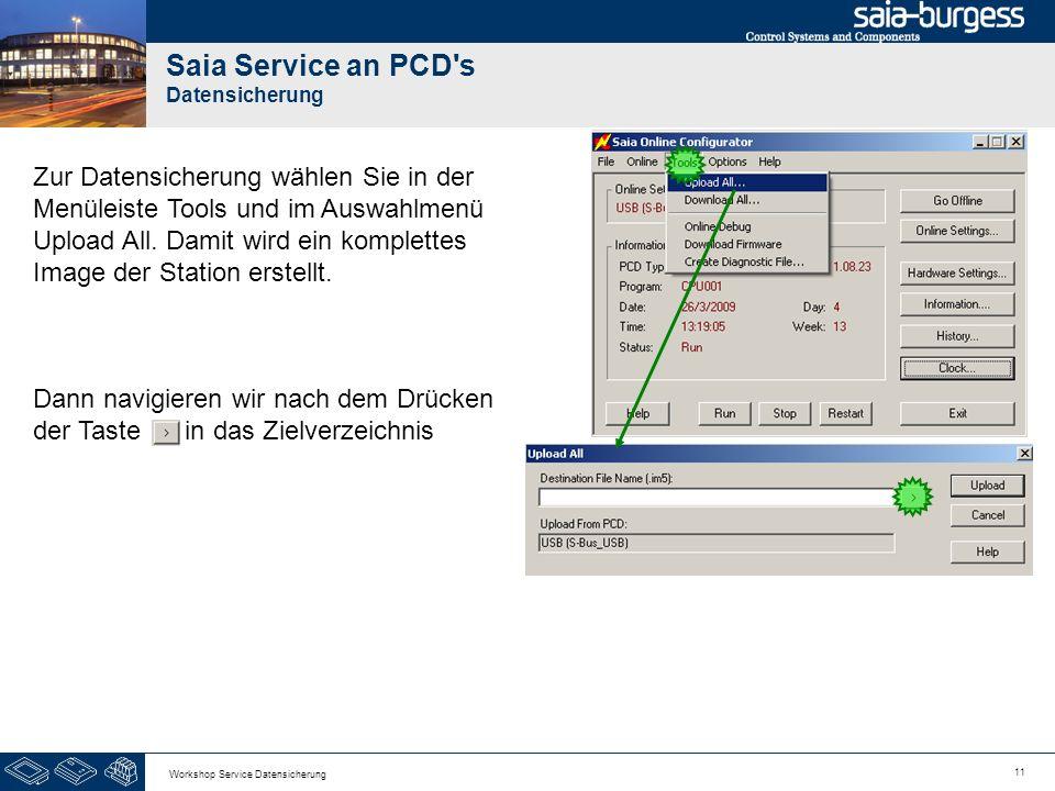 11 Workshop Service Datensicherung Zur Datensicherung wählen Sie in der Menüleiste Tools und im Auswahlmenü Upload All. Damit wird ein komplettes Imag